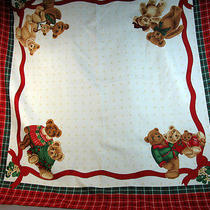 Christmas Square Scarf Red Plaid Border Teddy Bears on Corners Avon Italy Euc Photo