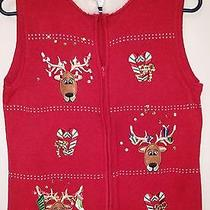 Christmas Sweater Vest Women's Goofy Deer Classic Elements Red White Trim M Photo