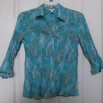 Christopher & Banks Size M Aqua Print Button Front Crinkle Shirt 3/4 Sleeves K Photo