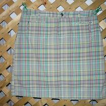 Christopher & Banks Stylish Gray / Aqua / Green Plaid Skort / Skirt Size 4 New Photo
