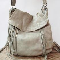 Christopher Kon Beige Leather Large Chic Sereena Crossbody Flap Bag Fringe Purse Photo