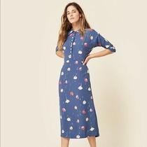 Christy Dawn Deyko Dress Blue Button Down Floral Printed Midi Buttons Size Xs Photo