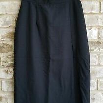 Christy Girl Womens Sz 10 Black Skirt Back Zip Midi Side Slit Lined Work Career Photo