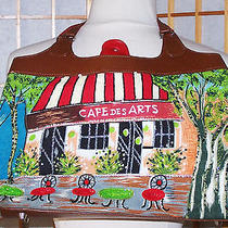 Christy Handbag Colorful Cafe Des Arts Scenic Beaded Large Bag  Nw/out Photo