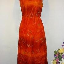 Christy Lyn Juniors Sunset Red Tie Back Empire Waist Lined Dress Size 11/12 Photo
