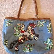 Christy Western Cowgirl Horses Sequin Beaded Blue Cotton Purse Satchel Photo