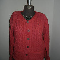 Christys Irish Stores Cable Knit Coral Cardigan Sweater Sz Small Made in Ireland Photo