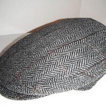 Christys London 100% Italian Wool Herringbone Grey Driving Cap Hat New Medium Photo
