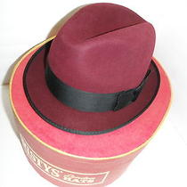 Christys of London Fur Felt Fedora Hat 7 1/8 New in Box  Burgandy  Photo