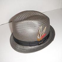 Christys of London Straw Fedora Hat Size Medium Grey Photo