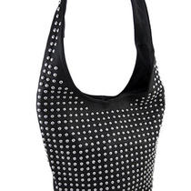 Chrome Studded Black Bucket Style Hobo Bag Photo