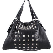 Chrome Studded Black Hobo Bag Glossy Black Trim Photo