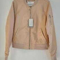 Ci Sono by Cavalini Blush Pink Sz L Faux Vegan Leather Bomber Spring Jacket New  Photo
