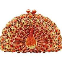 Ciel Collectables Jeweled Peacock Clutch Red/topaz M/w Swarovski Elements Photo
