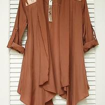 Cinnamon Contr Faux Leather Patch Drape Open Cardigan S  Anthropologie Earring Photo