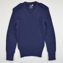 Citadel Commando Elbow Patches European v-Neck Sweater Wool Blue Men's Size M Photo