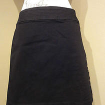 City Dkny Mini Skirt Sz 10 Black Embellished Waist Band Straight Cotton Blend Photo