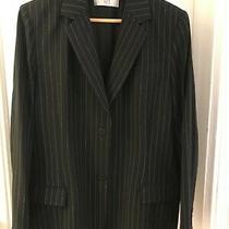 City Dkny Womens Black Pinstriped Polyester Blend Button Blazer Jacket Size 14 Photo