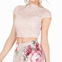 City Studio Blouse Blush Pink Size 1 Junior Glitter Lace Zip Back 129- 118 Photo