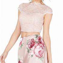 City Studio Blouse Blush Pink Size 1 Junior Shimmer Lace Floral Crop 65- 444 Photo