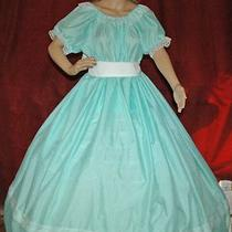 Civil War  Dickens Sass Victorian Larp Aqua Gingham Check Costume Dress Gown Photo
