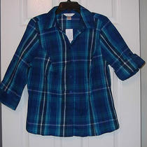 Cj Banks Size X/xl Plaid Crinkle Shirtbutton Front3/4 Sleeve Navy Aqua Nwt Photo