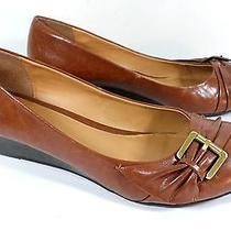 Cl by Chinese Laundry Womens Size 10 Brown Cognac Faux Leather Wedge Heel Shoes Photo