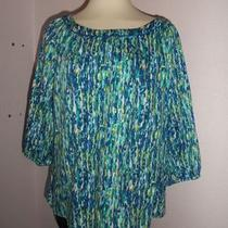 Claiborne  Blue Green Watercolor Print Elastic Arms Rounded Neck Xl  Photo