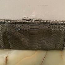Clara Kasavina Gray Genuine Python Clutch With Swarovski Crystals Photo