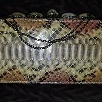 Clara Kasavina Snakeskin Python Skin Clutch With Swarovski Crystal Trims & Chain Photo