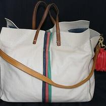 Clare Vivier Beige Red Green Perforated Leather X L Shoulder Tote Handbag Usa  Photo