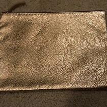 Clare Vivier Gold Metallic Leather Zip Pouch Clutch Bag Photo