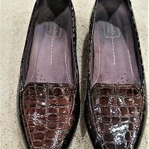 Clark's Everyday Brown Patent Leather Croc Pattern Slip on Flats 82700 Sz 10 M Photo