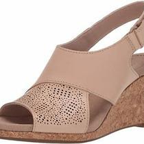 Clarks 26145423 Women's Lafley Joy Blush Leather Wedge Sandal Photo