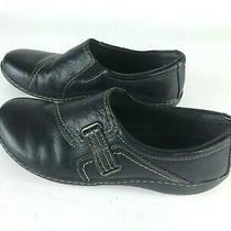 Clarks Ashland Blush Loafers Black Leather Slip-Ons Flats Shoe 10 Slight Wedge Photo