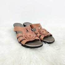 Clarks Bendables 8 M Womens Blush Pink Leather Flower Slide Comfort Sandals Photo