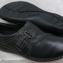 Clarks Collection Womens Ashland Blush Black Leather Loafers Shoes 01707 Sz 7 M Photo