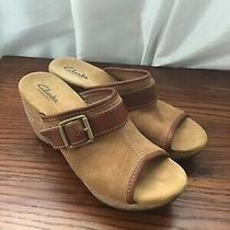 Clarks Elements 7.5 Peep Toe Clog Wedge Brown Suede Cork Photo
