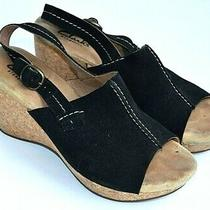 Clarks Elements Black Suede Upper Wedge Heel Open Toe Sandals Womens 7.5 Photo