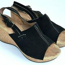 Clarks Elements Black Suede Upper Wedge Heel Open Toe Sandals Womens 7.5 Photo