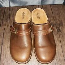 Clarks Elements Brown Leather Mules Strap Buckle Shoes Sz 7.5 Photo