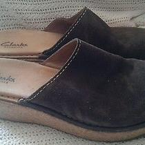 Clarks Elements Brown Suede Cork Wedge Heels Mule / Clogs Shoes Size 7.5m  Photo