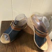 Clarks Elements Cork/blue Denim Wedge Slip-on Sandals Size 10m Brown Leather Photo