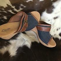 Clarks Elements Cork Blue Denim Wedge Slip-on Sandals Size 7m Leather Photo