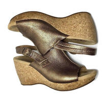 Clarks Elements Gold Brown Cork Wedges Women's 7m Photo
