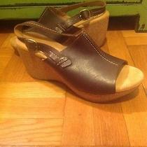 Clarks  Elements Leather Sandals Wedge Peep Toe Cork Platform Shoes New 9.5  Photo