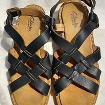 Clarks Elements Womens Black Leather Triple Strap Sandals Size 8.5 Photo