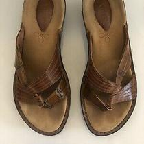 Clarks Mantis Croc Embossed Leather Slide Sandals Cognac Brown Size 6 6.5 75 Photo