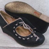 Clarks Originals Womens Vogue Blush Black Leather Wedge Heels Shoes 61606 Sz 7 M Photo