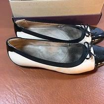 Clarks Size 10 B Blush Pink Leather Ballet Flats W/ Black Patent Toe/heel Bow Photo